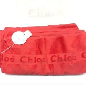 CHLOE Red Plush Logo HUGE Soft Bath Beach Towel